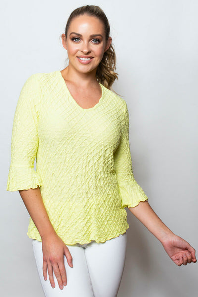 SnoSkins Dream Weaver 3/4 Sleeve V-Neck Top - Lemongrass