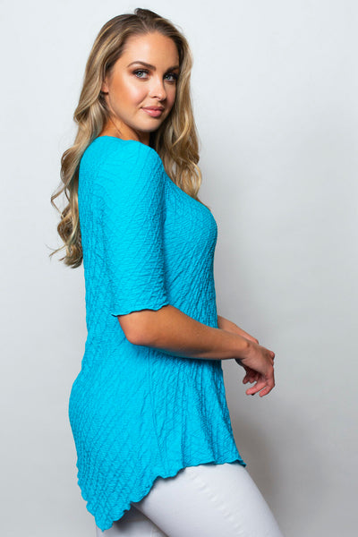 SnoSkins Dream Weaver Short Sleeve Asymmetric Hem Top - Turquoise
