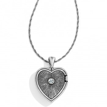 Brighton Heart Locket Necklace - Silver/Blue
