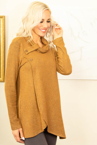 Pure Essence Button Collar Wrap Tunic - Cognac