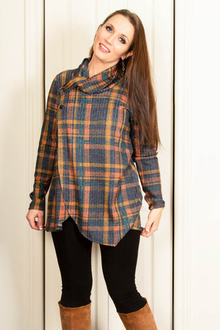 Pure Essence Button Collar Tartan Wrap Tunic - Teal/Marmalade
