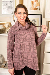 Pure Essence Button Collar Textured Knit Wrap Tunic - Rose