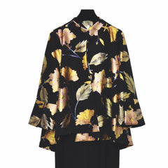 IC Collection Floral Foil Print Asymmetrical Jacket - Black/Gold