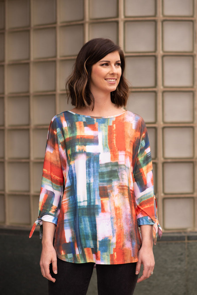 Pure Essence Brushstroke Print Tie Sleeve Tunic - Sahara Sunset