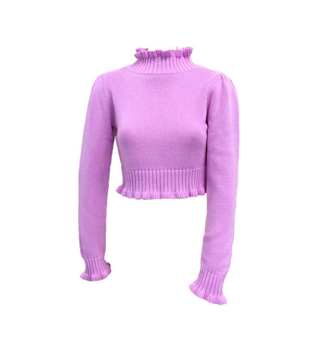 525 America Ruffled Mock Neck Shaker Knit Sweater - Orchid