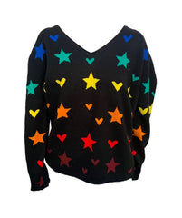 525 America Print V-Neck Sweater - Black/Multicolor