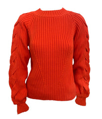 525 America Braided Sleeve Sweater - Orange