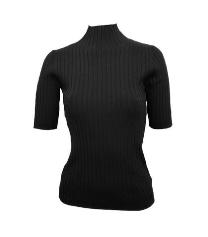 525 America Mock Neck Short Sleeve Ribbed Knit Top - Black