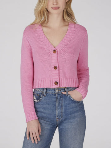525 America Cotton Shaker Cropped V-Neck Cardigan - Pink
