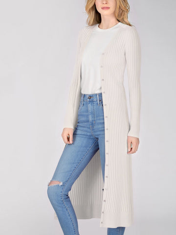 525 America Wide Rib Duster Cardigan - Chalk