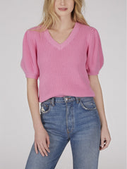 525 America Cotton Shaker Puff Sleeve Sweater - Pink