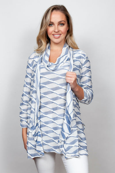 SnoSkins Twisted Stripe Jacket & Top Set - Chambray