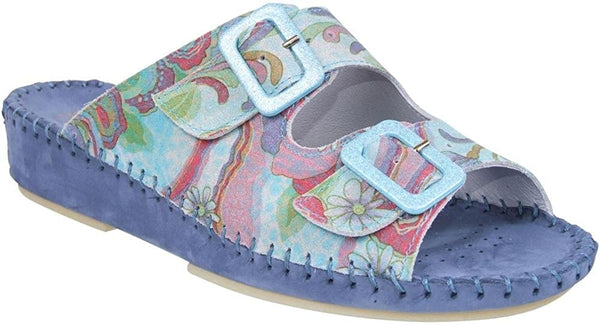LaPlume Jen Leather Sandal - Denim Paisley