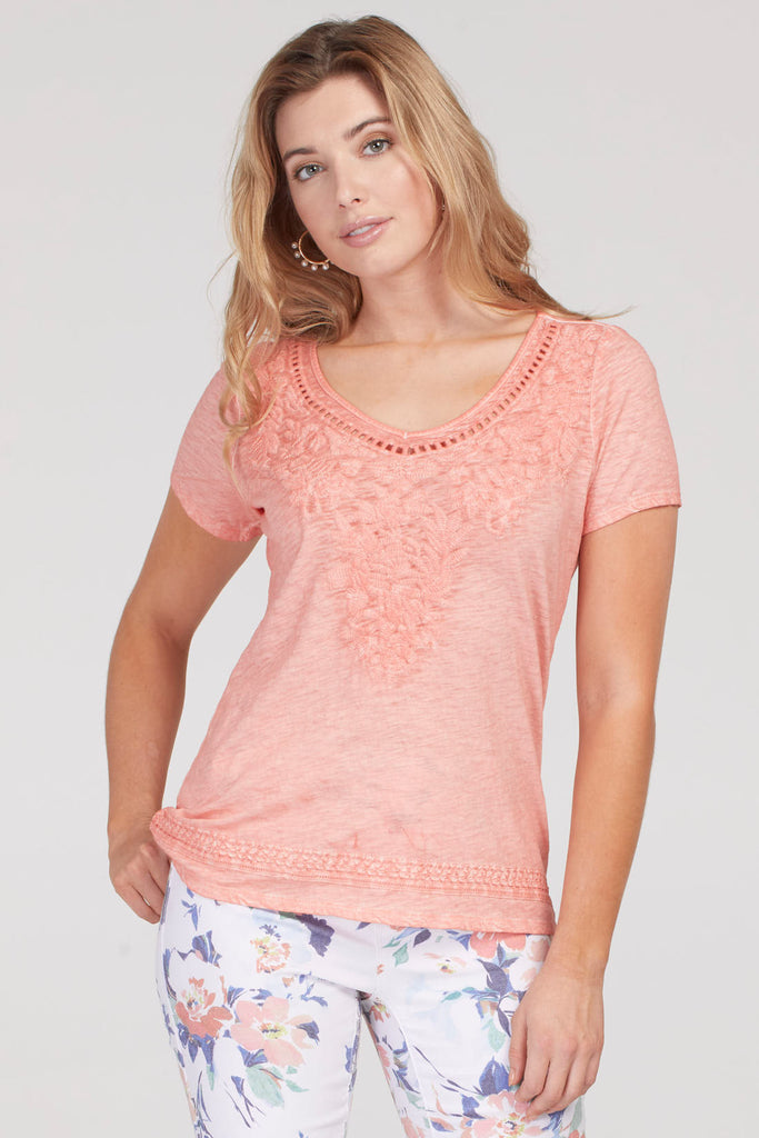 Tribal Short Sleeve Embroidered Top - Peach Tulip
