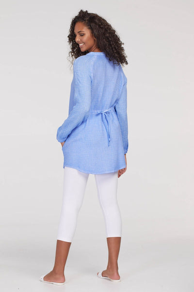 Tribal Button Front Gauze Tunic - Periwinkle