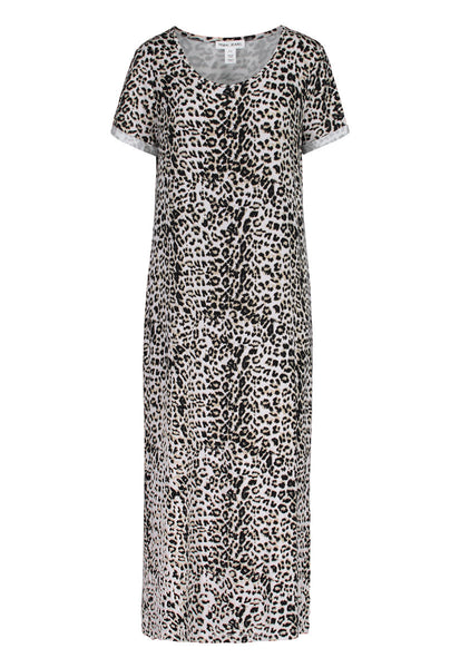 Tribal Short Sleeve Maxi Dress - Leopard Print *Take 25% Off*