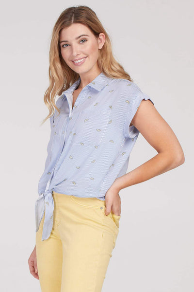 Tribal Lemon Print Short Sleeve Blouse - Periwinkle/Print