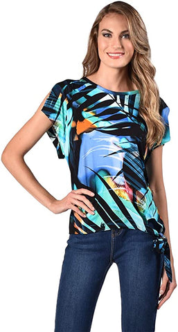 Frank Lyman Exotic Print Top - Blue/Black