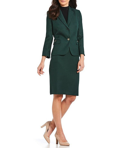 John Meyer Collection Two Piece Skirt Suit - Forest Green