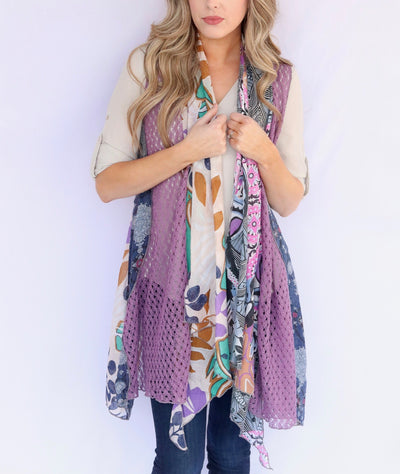 Adore Apparel Mixed Media Vest - Lilac/Multi