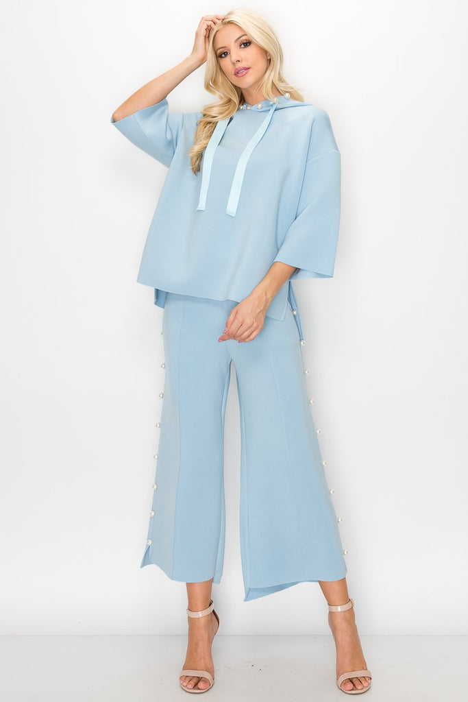 JOH Apparel Francine Pearl Trim Hoodie Top - Sky Blue