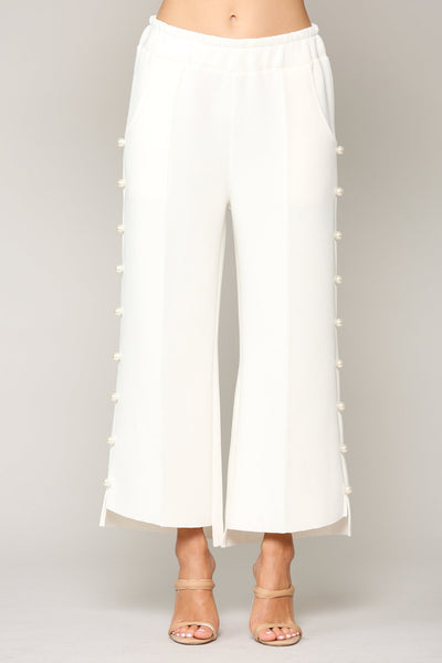 JOH Apparel Farrah Pearl Trim Pant - White