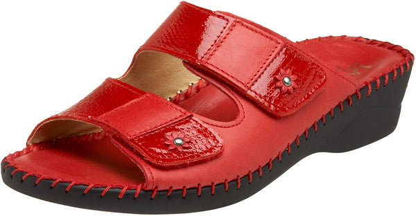 LaPlume Jessica Leather Wedge Sandal - Red