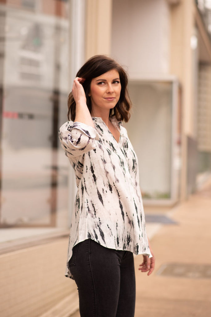 Boho Chic Digital Print Linen Blouse - White/Black
