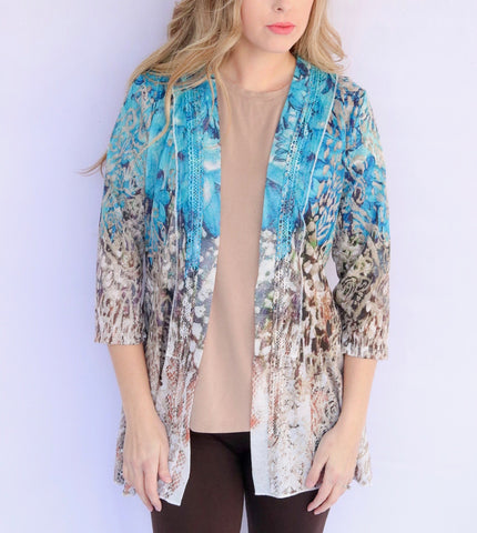 Adore Apparel Abstract Print Cardigan - Multicolor