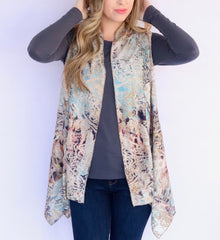 Adore Apparel Abstract Print Vest - Blue/Multi