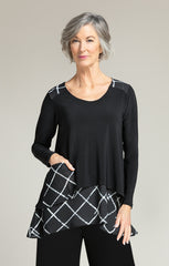 Sympli Whisper Pocket Top - Black/Large Crosshatch