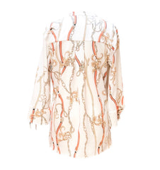 Kay Celine Bell Sleeve Status Print Blouse - Off White/Orange Multicolor