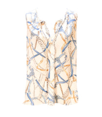 Kay Celine Sleeveless Status Print Tassel Top - Blue/White Multicolor