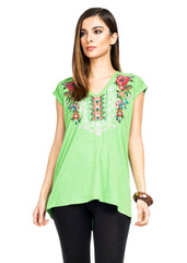 Adore Apparel Embroidered Cap Sleeve Top - Green/Multicolor