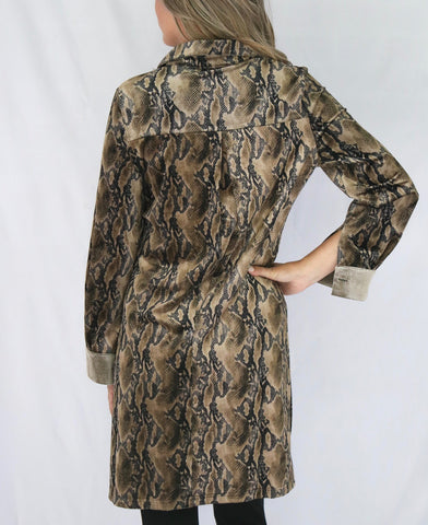 Adore Apparel Textured Knit Long Shirt Jacket - Python Print