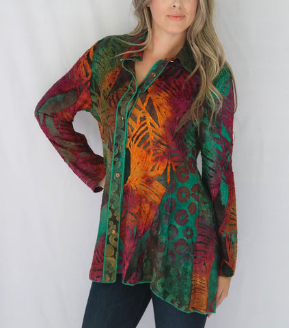 Adore Apparel Burnout Knit Contrast Trim Button Down Shirt - Multicolor