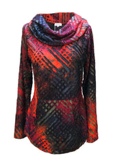 Adore Apparel Cowl Neck Burnout Knit Top - Red/Multicolor
