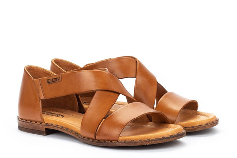 Pikolinos Algar Leather Crossover Sandal - Brandy