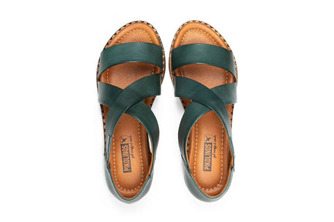 Pikolinos Algar Leather Crossover Sandal - Emerald