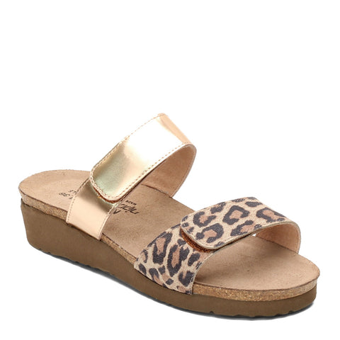 Naot Althea Two Strap Sandal - Radiant Gold Leather & Cheetah Print Suede