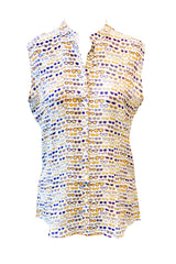 APNY Apparel Sleeveless Sunglasses Print Blouse - Off White/Multicolor
