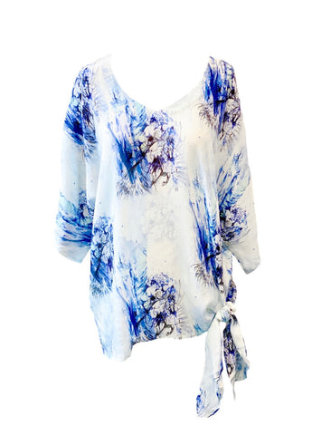 APNY Apparel Dolman Sleeve Side Tie Top - Blue/Floral