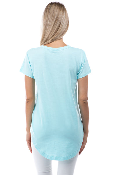APNY Apparel Short Sleeve V-Neck Hi/Low Cotton Top - Aqua