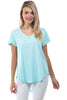 Image of APNY Apparel Short Sleeve V-Neck Hi/Low Cotton Top - Aqua