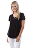 Image of APNY Apparel Short Sleeve V-Neck Hi/Low Cotton Top - Black