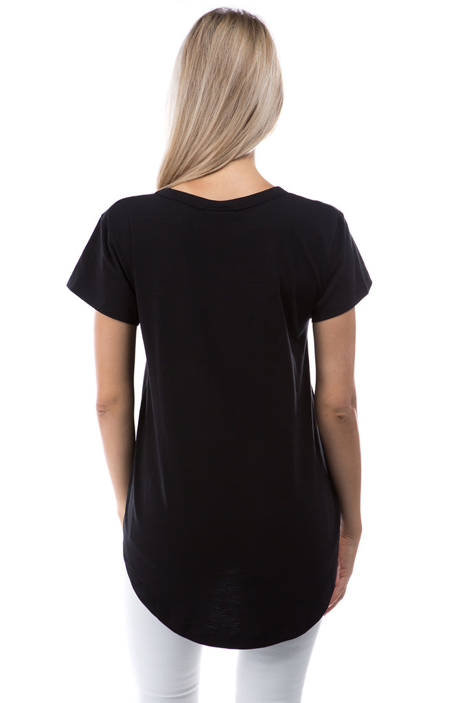 APNY Apparel Short Sleeve V-Neck Hi/Low Cotton Top - Black