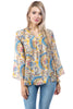 Image of APNY Apparel Tie Neck Flared Sleeve Floral Paisley Top - Beige/Multicolor