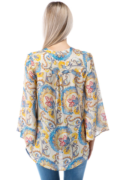 APNY Apparel Tie Neck Flared Sleeve Floral Paisley Top - Beige/Multicolor