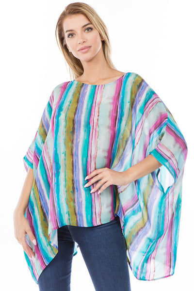 APNY Apparel Watercolor Stripe Kaftan Top - Multicolor