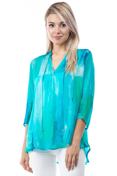 APNY Apparel Tie Neck Watercolor Print Top - Turquoise/Multicolor